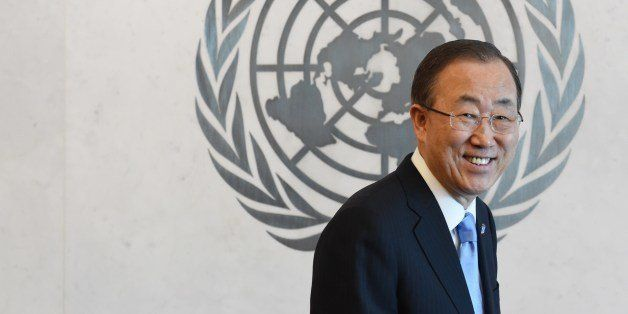 United Nations Secretary General Ban Ki-Moon May 12, 2014 at UN headquarters in New York after appointing Major General Kristin Lund as the new head of the UN military peacekeeping force in Cyprus (UNFICYP),the the first ever female military commander of a UN peacekeeping force. AFP PHOTO/Stan HONDA (Photo credit should read STAN HONDA/AFP/Getty Images)