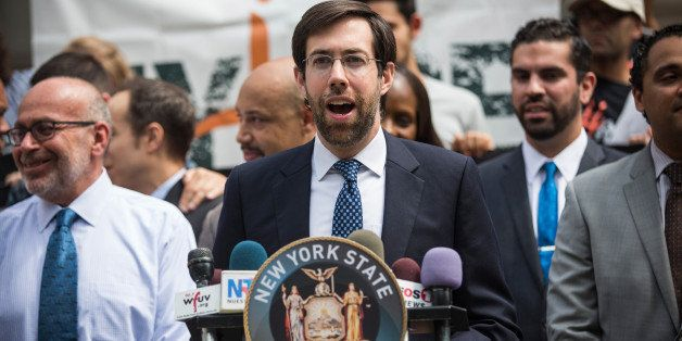 NEW YORK, NY - JULY 09:  New York State Senator Daniel Squadron speaks on the steps of New York City Hall in support of the p