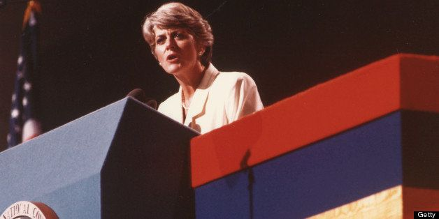 Geraldine Ferraro, Vice-Presidential nominee, speaks at the Democratic National Convention, Juy 1984. (Photo by PhotoQuest/Ge