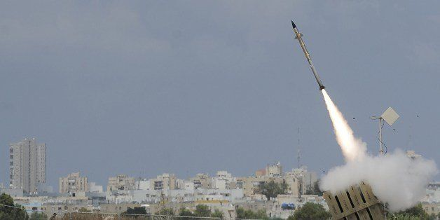 A missile is launched by an 'Iron Dome' battery, a short-range missile defence system designed to intercept and destroy incom