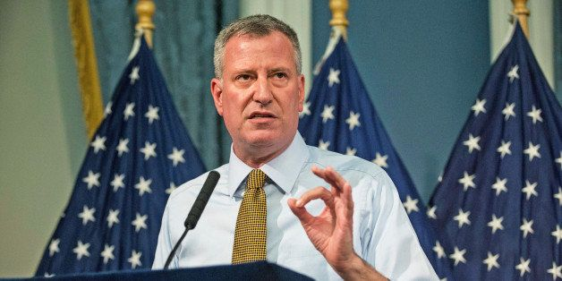 NEW YORK, NY - JULY 03:  New York City Mayor Bill De Blasio addresses recent weather reports and the approaching Hurricane Ar