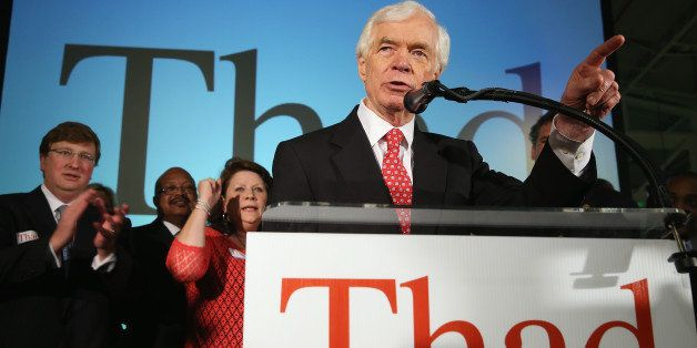 JACKSON, MS - JUNE 24:  U.S. Sen. Thad Cochran (R-MS) speaks to supporters during his 'Victory Party' after holding on to his