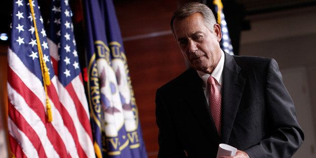 WASHINGTON, DC - JULY 17:  U.S. Speaker of the House John Boehner (R-OH) departs his weekly press conference July 17, 2014 in