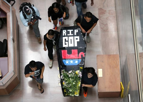 The protest was acted out as a funeral service for Republicans because of their policies on immigration.