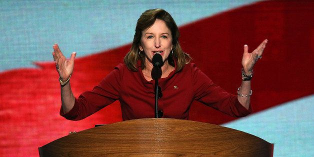 CHARLOTTE, NC - SEPTEMBER 06:  U.S. Sen. Kay Hagan (D-NC) speaks during the final day of the Democratic National Convention a