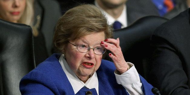 WASHINGTON, DC - FEBRUARY 14: Senate Appropriations Committee Chairwoman Barbara Mikulski (D-MD) questions witnesses during a committee hearing about the potential impacts of 'the sequester' on Capitol Hill February 14, 2013 in Washington, DC. This was Mikulski's first hearing as chairwoman. 'The sequester,' automatic spending cuts to military and nonmilitary programs, will go into affect March 1 if Congress and the White House can not find common ground on a federal budget. (Photo by Chip Somodevilla/Getty Images)