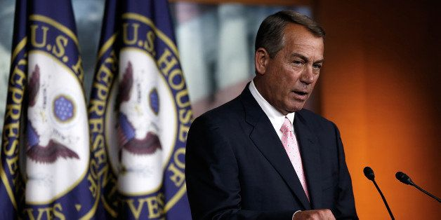 WASHINGTON, DC - JULY 24:  U.S. Speaker of the House John Boehner (R-OH) answers questions during a press conference at the U