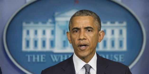 US President Barack Obama makes a statement on Ukraine from the Brady Press Briefing Room at the White House in Washington, DC, July 18, 2014. AFP PHOTO / Jim WATSON (Photo credit should read JIM WATSON/AFP/Getty Images)