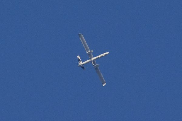 A picture taken from the southern Israeli Gaza border shows an Israeli army UAV flying over the Gaza strip on July 29, 2014.