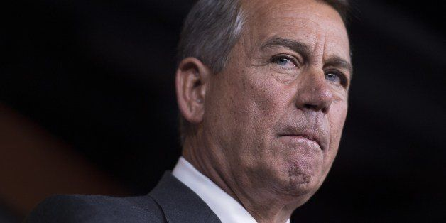 Speaker of the House John Boehner, R-OH, speaks during a press conference on Capitol Hill in Washington, DC, July 17, 2014.