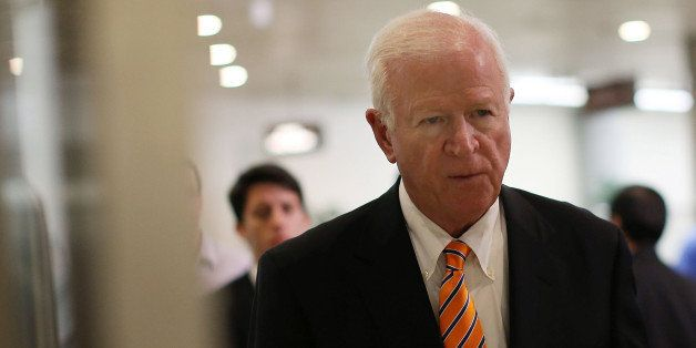WASHINGTON, DC - JUNE 13: Co- Chairman Saxby Chambliss (R-GA) walks to a closed door U.S. Senate Intelligence Committee meeti