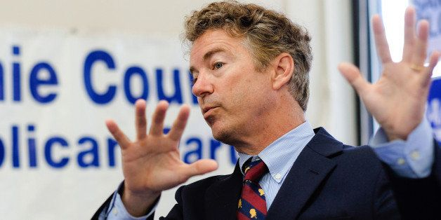 COUNCIL BLUFFS, IA - AUGUST 4: U.S. Sen. Rand Paul (R-KY) speaks to the media at the Pottawattamie County Republican headquar
