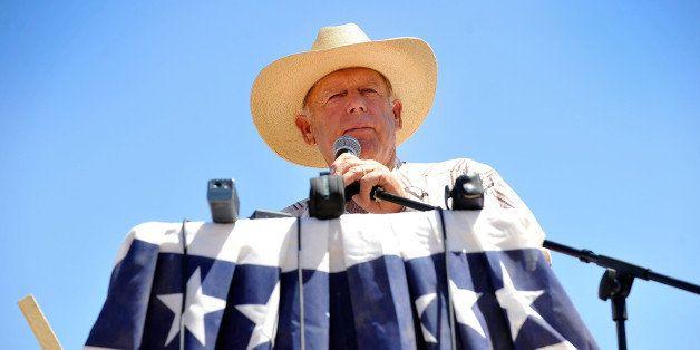BUNKERVILLE, NV - APRIL 24:  Rancher Cliven Bundy speaks during a news conference near his ranch on April 24, 2014 in Bunkerv