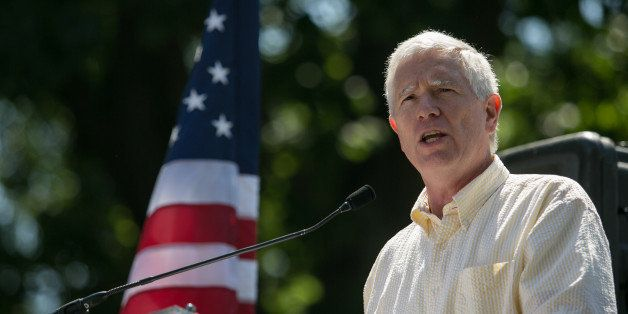 WASHINGTON, DC - JULY 15: Rep. Mo Brooks (R-AL) speaks during the DC March for Jobs in Upper Senate Park near Capitol Hill, o