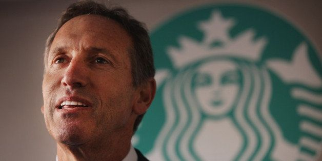 NEW YORK, NY - OCTOBER 04:  Starbucks CEO Howard Schultz speaks at an event celebrating a new partnership between Starbucks a