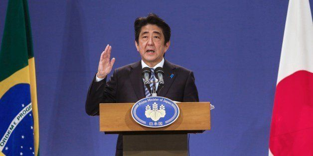 Japan's Prime Minister Shinzo Abe speaks during press conference in Sao Paulo, Brazil on August 02, 2014. Abe is on a three-d