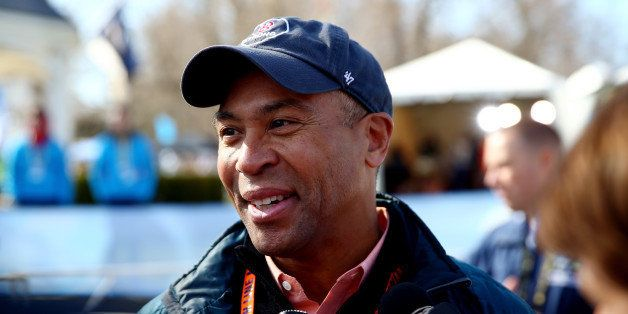 HOPKINTON, MA - APRIL 21:  Governor Deval Patrick speaks to the media after the start of the Mobility Impaired division of th