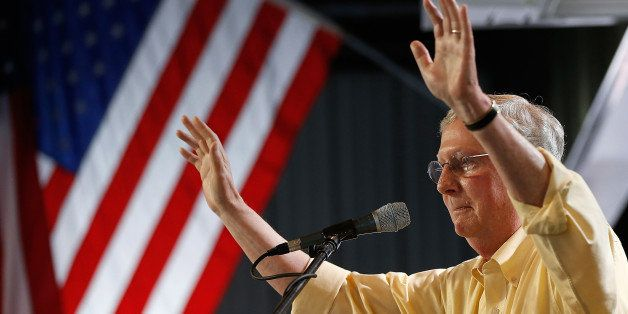 FANCY FARM, KY - AUGUST 02:  Senate Minority Leader Mitch McConnell (R-KY) speaks at the Fancy Farm picnic August 2, 2014 in