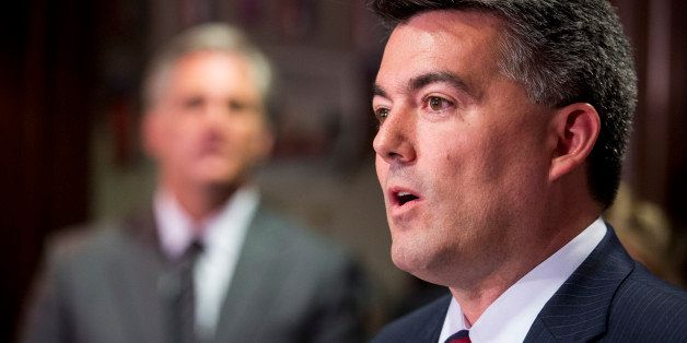 UNITED STATES - JUNE 24: Rep. Cory Gardner, R-Colo., speaks to the media at the Republican National Committee following the H