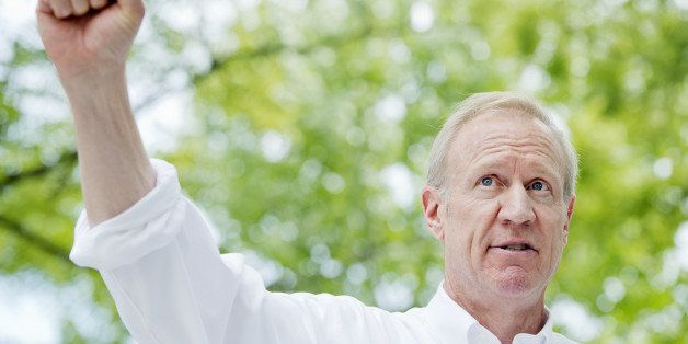 UNITED STATES - AUGUST 14: Bruce Rauner, Republican candidate Illinois Governor, addresses the crowd during Republican Day at