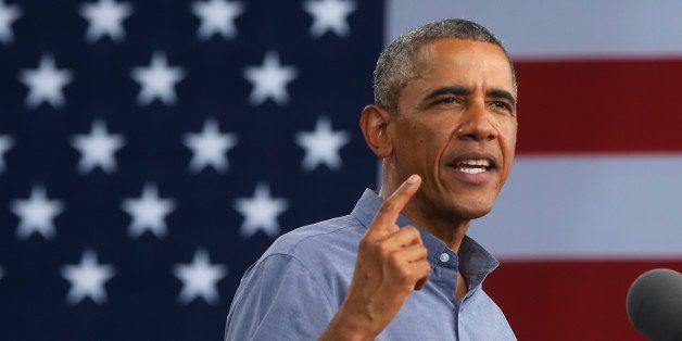 President Barack Obama speaks at Laborfest 2014 at Henry Maier Festival Park in Milwaukee on Labor Day, Monday, Sept. 1, 2014