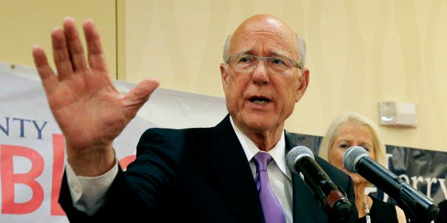 U.S. Sen. Pat Roberts makes his victory speech at a Johnson County Republican's election watch party Tuesday, Aug. 5, 2014, i