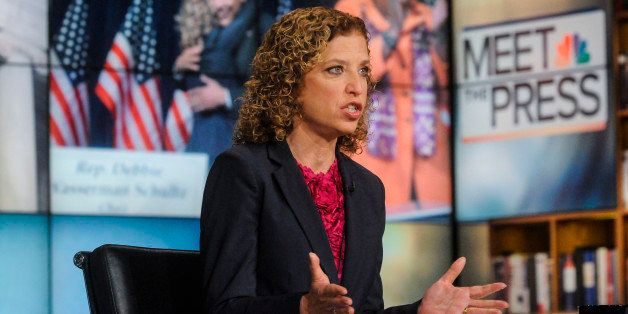 MEET THE PRESS -- Pictured: (l-r)  Debbie Wasserman-Schultz (D-FL), Democratic National Committee Chair, appears on 'Meet the