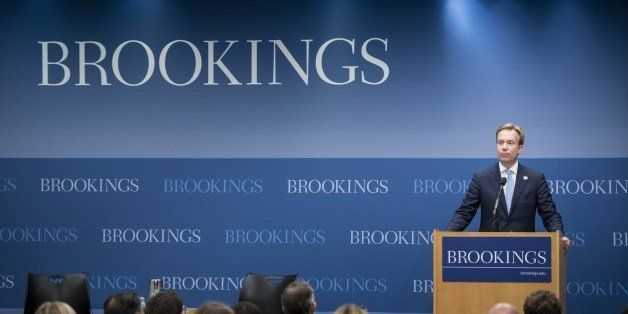 Norway's Minister of Foreign Affairs Børge Brende pauses while speaking at the Brookings Institution June 16, 2014 in Washin