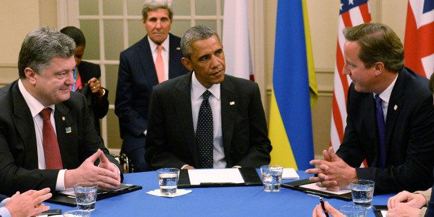 NEWPORT, WALES - SEPTEMBER 04: British Prime Minister David Cameron, US President Barack Obama and Ukrainian President Petro