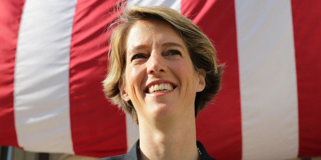 Fordham University law professor and liberal activist Zephyr Teachout speaks to supporters outside Brooklyn Borough Hall in i