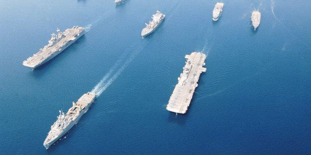 This combat ready fleet of ships, called Amphibious Task Force-West (ATF-West), is transporting Marines from San Diego to Kuw
