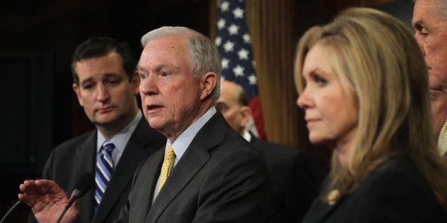 WASHINGTON, DC - SEPTEMBER 09:  U.S. Sen. Jeff Sessions (R-AL) (2nd L) speaks as Sen. Ted Cruz (R-TX) (L), and Rep. Marsha Bl