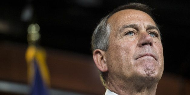 UNITED STATES - SEPTEMBER 11: Speaker of the House John Boehner, R-Ohio, holds his weekly on camera press conference in the C