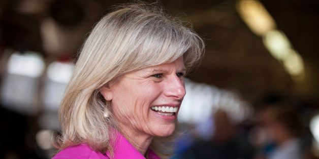 FILE - In this July 24, 2014 file photo Wisconsin Democratic gubernatorial candidate Mary Burke attends the Rock County 4-H F