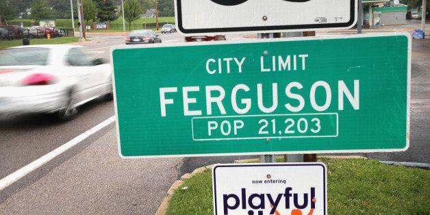 FERGUSON, MO - SEPTEMBER 10:  A sign welcomes visitors to the city on September 10, 2014 in Ferguson, Missouri. The suburban