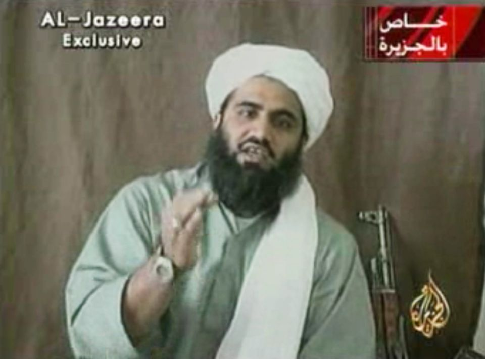 FILE - This image made from video and provided by by Al-Jazeera shows Sulaiman Abu Ghaith, Osama bin Laden's son-in-law and s