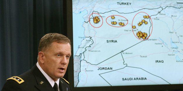 ARLINGTON, VA - SEPTEMBER 23:  Lt. Gen. William C. Mayville Jr. speaks about the Syrian bombing campaign September 23, 2014 i