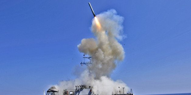 AT SEA - MARCH 29, 2011:  In this handout released by the U.S. Navy, the U.S. Navy guided-missile destroyer USS Barry (DDG 52