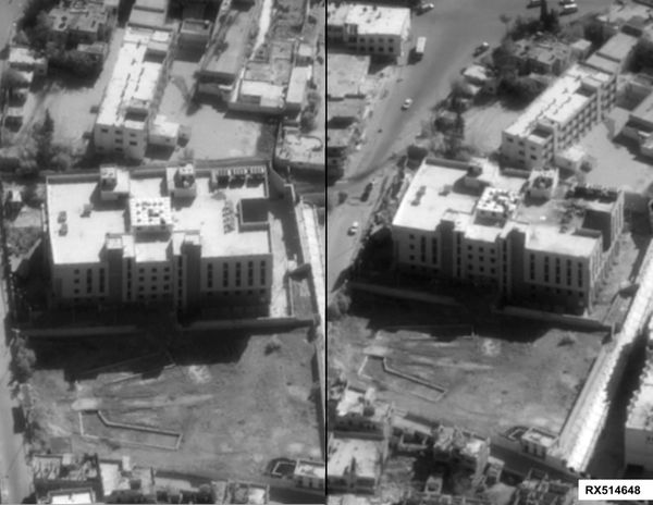 A before and after image of strikes on an Islamic State finance center in Raqqah, Syria on Sep. 23, 2014.