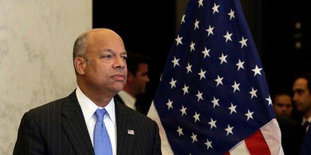 Homeland Security Secretary Jeh Johnson arrives for a news conference, in New York,  Monday, Sept. 15, 2014.  New York Gov. A
