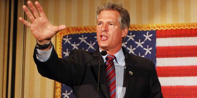 Scott Brown, a former U.S. Senator from Massachusetts, speaks to supporters after winning New Hampshire's Republican U.S. Sen