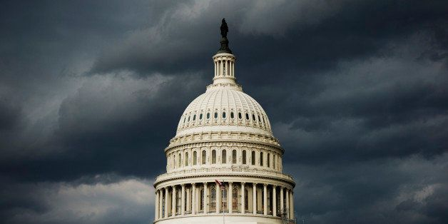 UNITED STATES - JULY 8: A strong storm front passes over the U.S. Capitol on Tuesday, July 8, 2014. (Photo By Bill Clark/CQ R