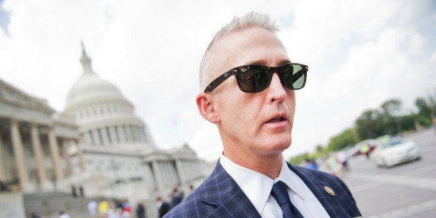UNITED STATES - JULY 31: Rep. Trey Gowdy, R-S.C., speaks with the media on the East Front of the Capitol after a vote in the