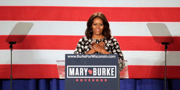 First lady Michelle Obama speaks on behalf of Wisconsin Democratic gubernatorial candidate Mary Burke at a campaign rally Mon