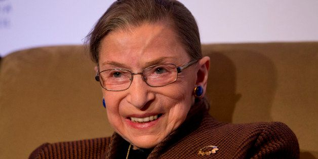Supreme Court Justice Ruth Bader Ginsburg smiles while speaking to the Northern Virginia Technology Council, Tuesday, Dec. 17