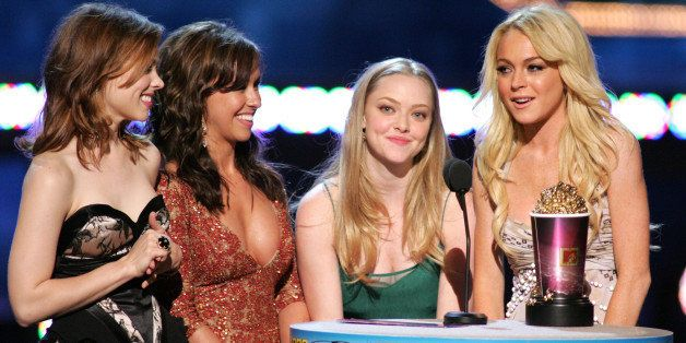 Rachel McAdams, Lacey Chabert, Amanda Seyfried and Lindsay Lohan, winners for On-Screen Team Award for 'Mean Girls' (Photo by
