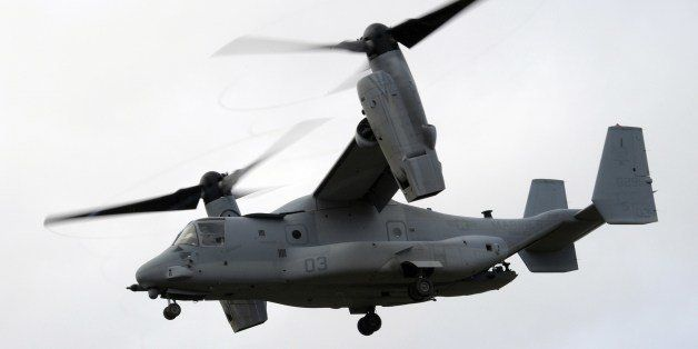 TO GO WITH AFP STORY BY REMY ZAKA An American multi-mission and tiltrotor aircraft MV-22 Osprey, is pictured during a Franco