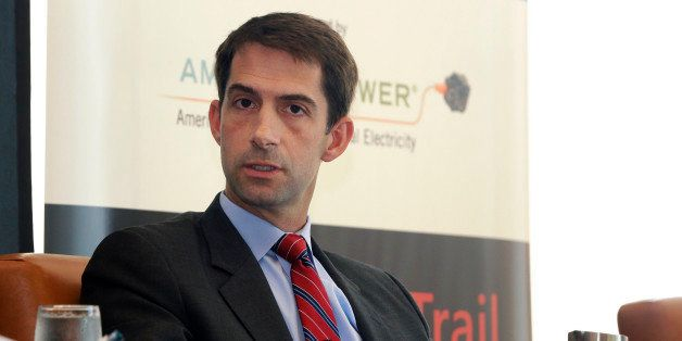 U.S. Rep. Tom Cotton, R-Ark., is interviewed at a Real Clear Politics event in Little Rock, Ark., Thursday, Sept. 25, 2014. (