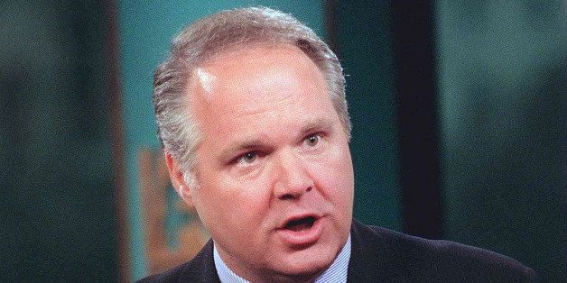 WASHINGTON - MARCH 1, 1998: (FILE PHOTO) Conservative talk show host Rush Limbaugh discusses violence in films during ''Fox N