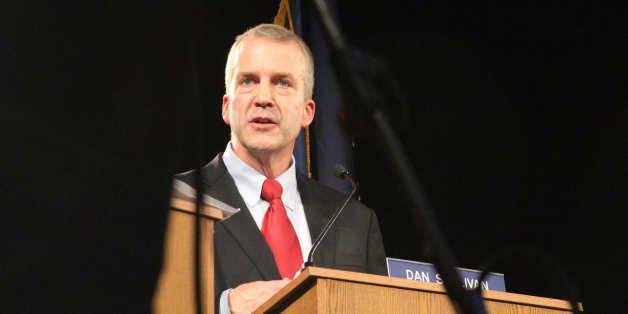 Former Alaska Attorney General Dan Sullivan, a Republican U.S. Senate candidate, talks during a live televised debate Sunday,